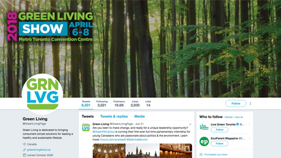 Green Living Show Twitter Account